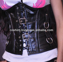 New Woman Leather Under burst Corset / Overbust Steel Double Bones Genuine Cow Leather Corset Bustier / Leder Korsett