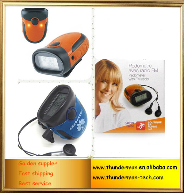 Multifunction LED Light FM Radio Pedometer with Alarm Clock function
