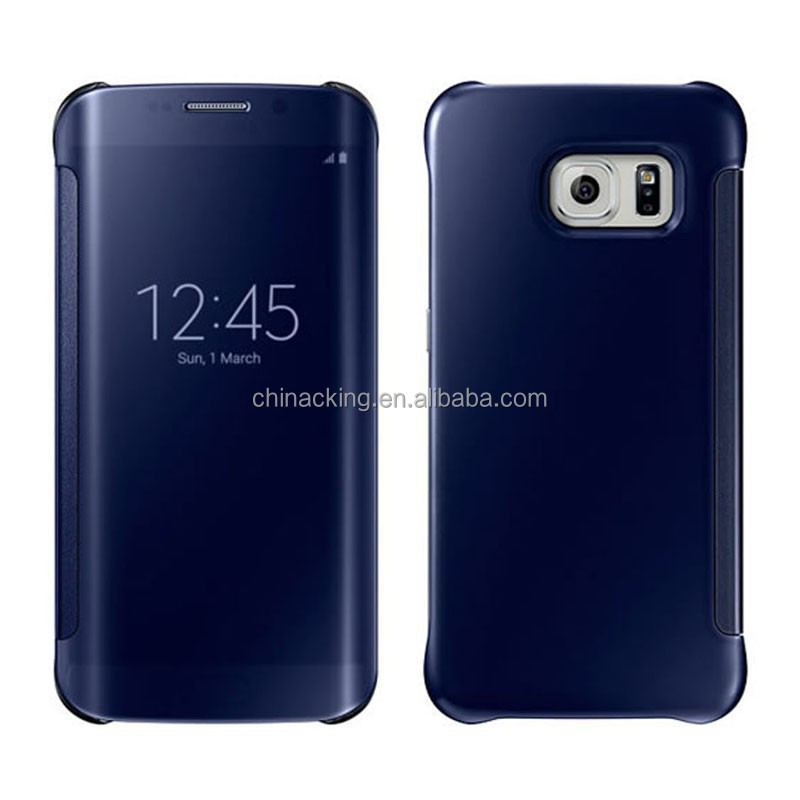luxury smart flip mirror cover for samsung galaxy S6 edge case