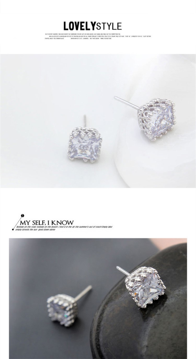 925 sterling silver cubic zirconia diamond stud earrings