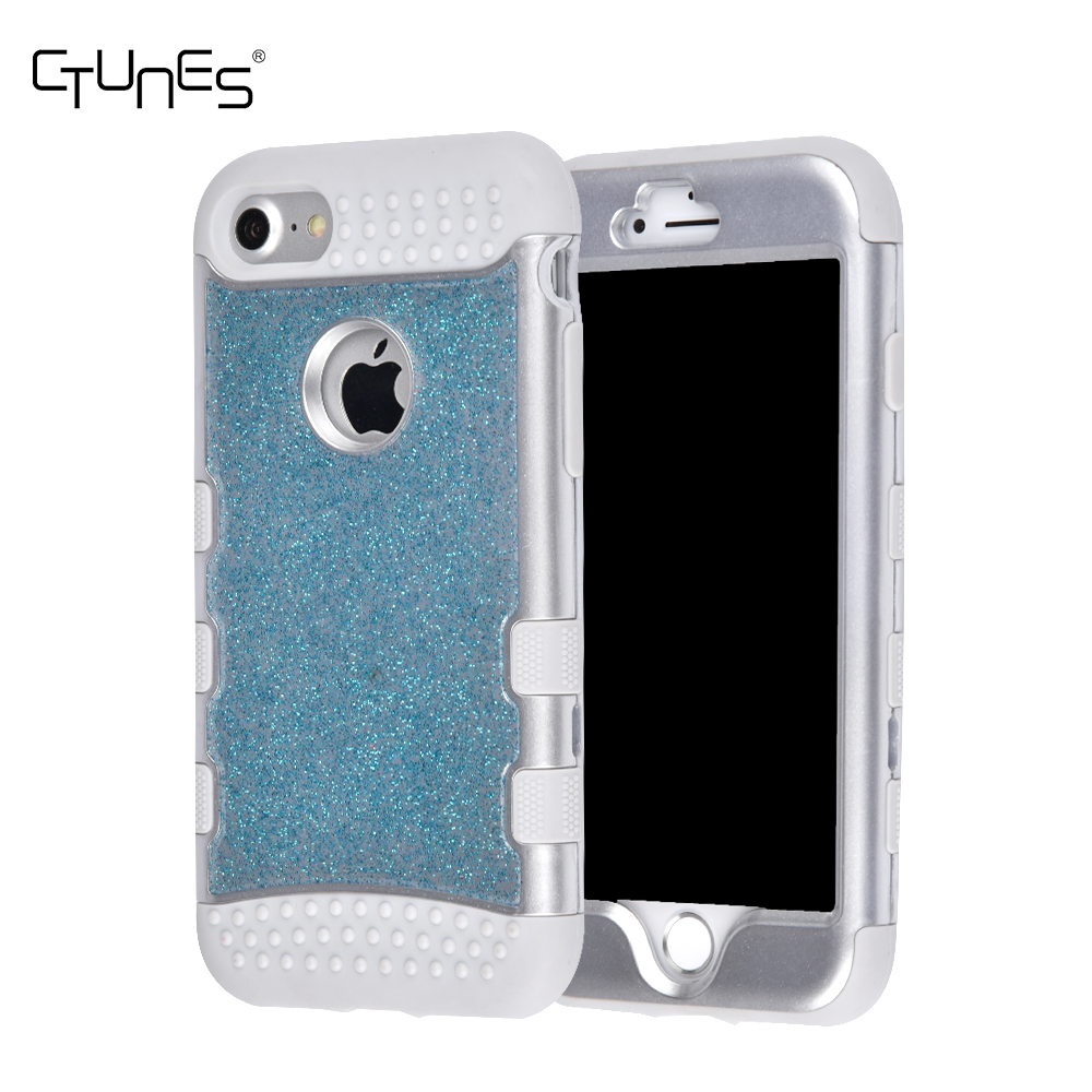 CTUNES Bling Glitter 3 IN 1 High Impact Heavy Duty Shockproof Back Case Protective Cover for Apple iPhone 7 4.7 Inch