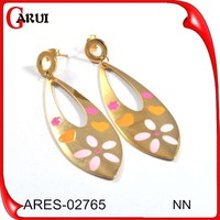 New arrival online shopping jewellery gold stainless steel hanging indian earrings