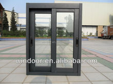 China cheap price aluminum framed sliding window brown color double glazed alloy windows