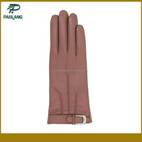 hand glove custom ladies fashion leather hand glove with belt accessories