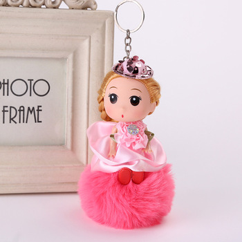 Hot sale cute confused doll rabbit fur ball key chain barbie pompom keychain for kids bag