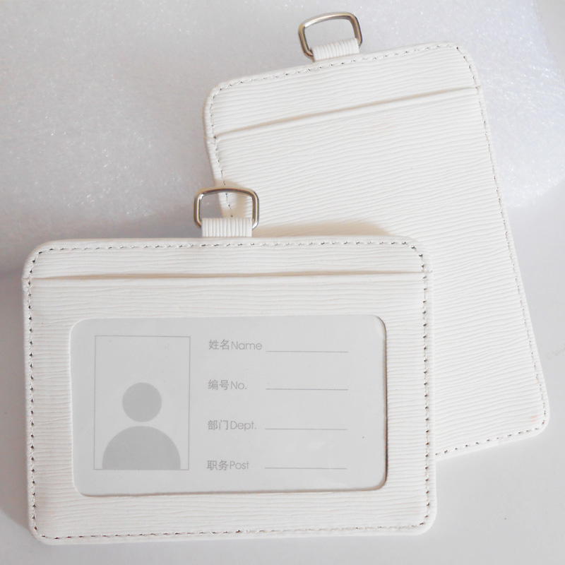 Plain pu id card holder with two card pockets
