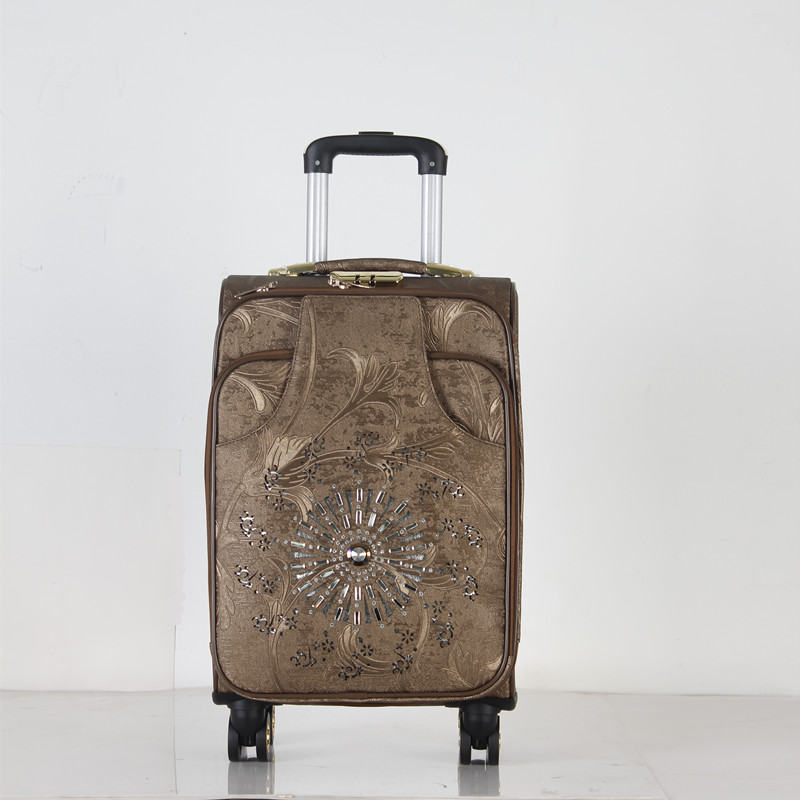 popular fashionable PU luggage travel bag trolley suitcase and good quality cheap price luggage 4 wheels real button trolley