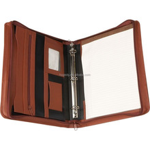 New fashion A4 zip Leather Binder Portfolio