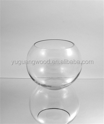 Clear glass bubble bowl / Fish bowl hand blown glass vase / Bubble fish bowl glass vase