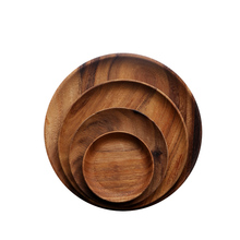 Natural Food Snack Acacia Round Wooden <strong>Plate</strong> For Dining Tableware