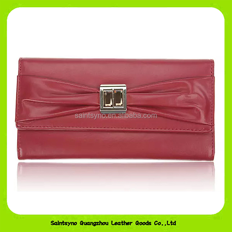 16742 2016 Genuine Leather Cowhide Women Wallet Crystal Bowknot Plain Pattern Long Purse Leather Bags