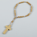 olive wood cheap rosary bracelet with cross