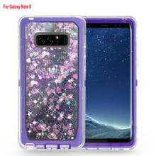 Full body cover shield glitter liquid case for Samsung Galaxy Note 8 hybrid skin durable
