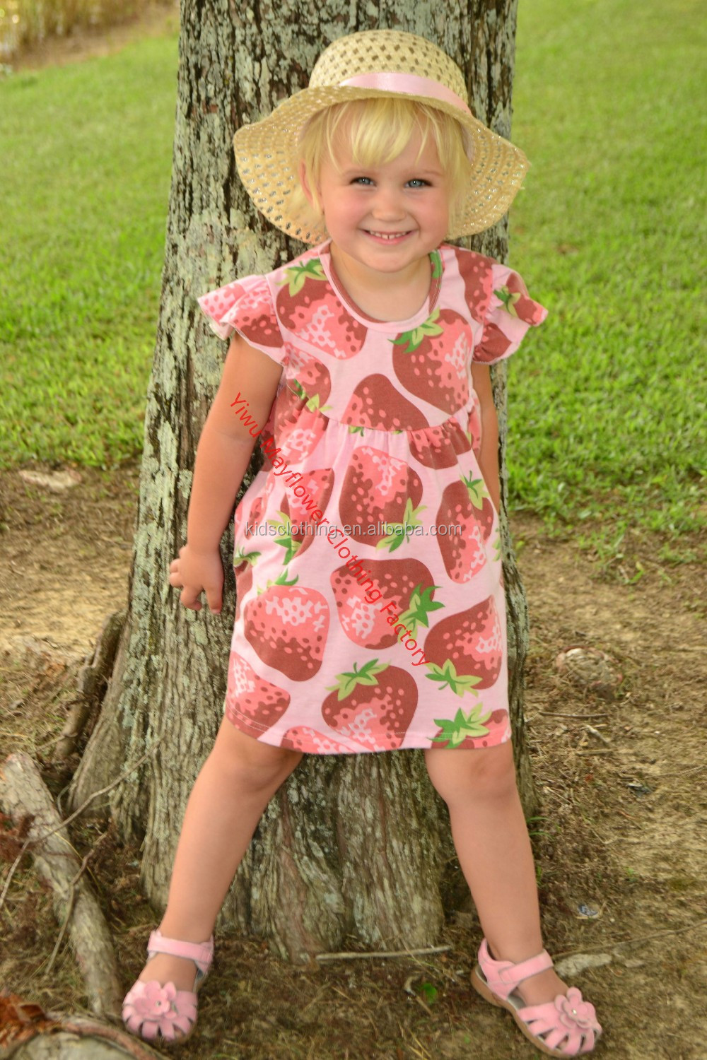 High quality girls strawberry print dress boutique flutter pearl cotton dress for summer