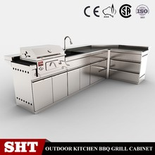 stainless steel outdoor charcoal grill kitchen cabinet SS304 cupboard pantry