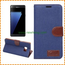 Jeans Denim Wallet Stand Leather Case For Samsung Galaxy note 5,cowboy leather phone case for samsung note 5