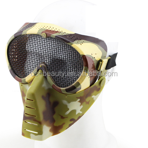 Outdoor Sport Camouflage Tactical Combat Army Masks, Skull Ghost Mask, Mesh Steel Full Face Airsoft Mask