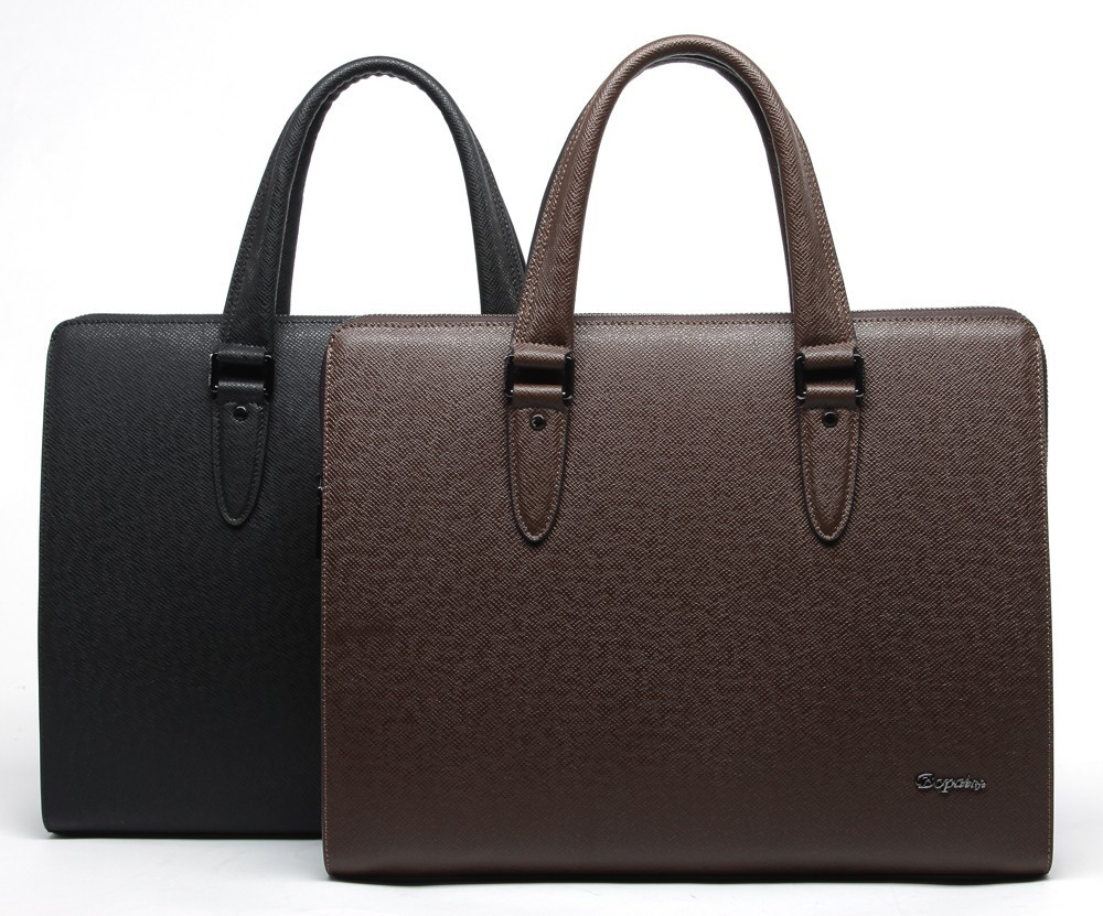 High quality hard split imported western leather handmade briefcase men bag
