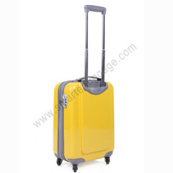 Bright yellow ABS hard shell luggage with aluminium trolley