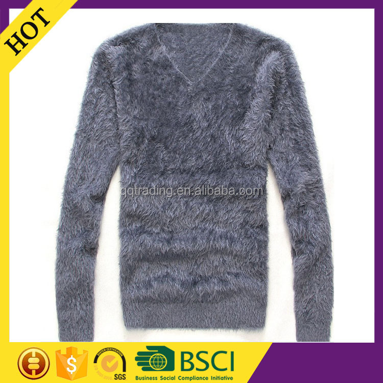 Pure color V neck oversized factory cheap designer original fuzzy sweater