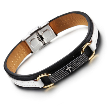 Men Cross Scripture Genuine Leather Stainless Steel Titanium Bracelet