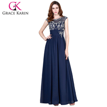 Grace Karin Ladies Sleeveless Beaded Chiffon Long Real Sample Pictures Navy Blue Evening Dresses CL4473-2