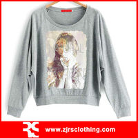 Womens Heather Grey Color T-shirt with Digital Print Design