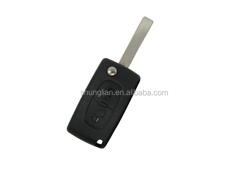 High quality Peugeot car key case,407 2 buttons flip remote key case& key blank& key shell,car key