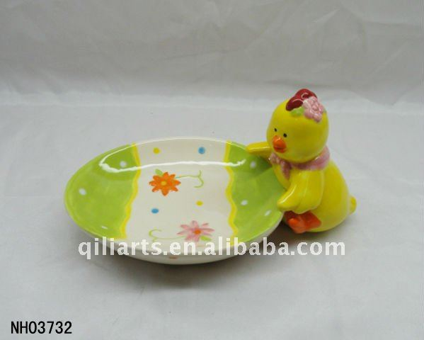 Easter chicken porcelain egg tray