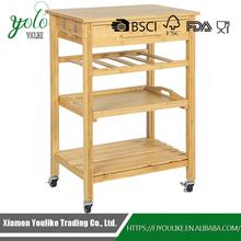 Bamboo Kitchen Cart trolley With Drawer & Storage Shelves