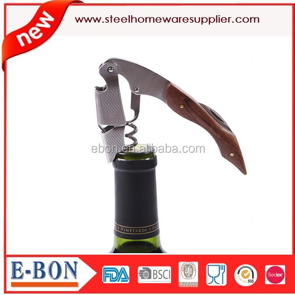 wine opener handle with wood stainless steel bar tools sets