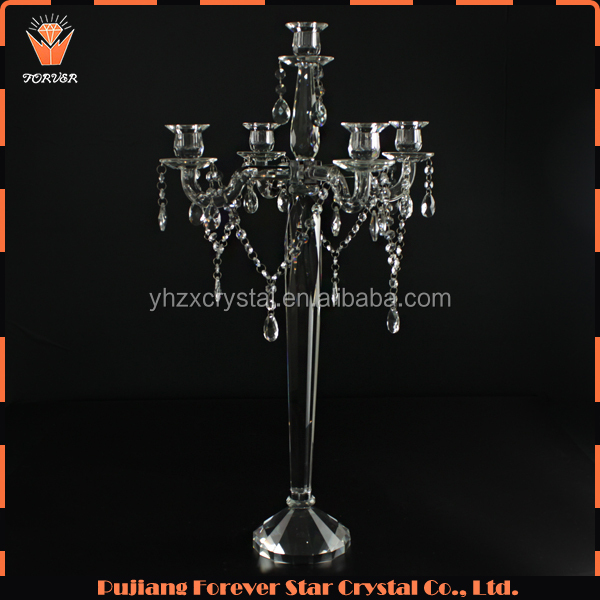 luxury hanging beads candle stand crystal wedding table decoration candelabra on sale
