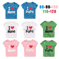 Hot Selling Top quality Cotton love papa mama baby clothes 90-120cm