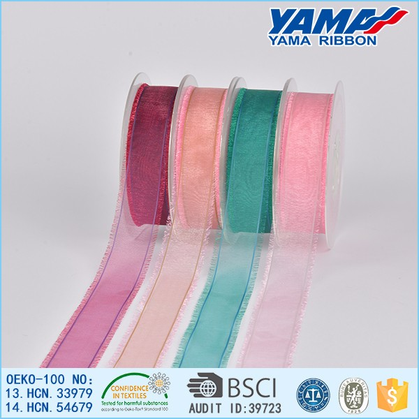 Wholesale high quality polyester ombre organza fringe ribbon