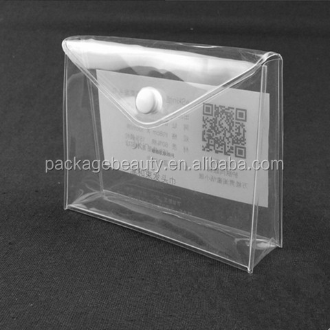 High quality plastic pouch promotional packaging clear pvc plastic bag with snap button