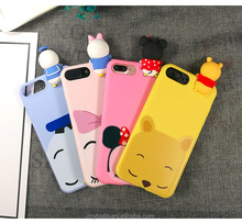 2017 NEW 3D kneading phone case lie prone cartoon cute cartoon bear panda silicon rubber phone case for iphone 7 7plus case