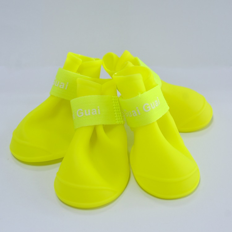 Silicone rubber puppy shoes dog rain boot waterproof pet dog boots