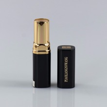 Special design square empty packaging black aluminum lipstick tube with gold ring