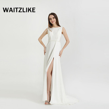 Long celebrity banquet dinner white dresses for ladies evenning ,sleeveless party prom long evening dress