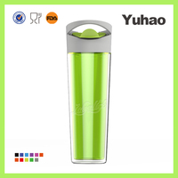 16 OZ transparent plastic double wall ceramic travel mug