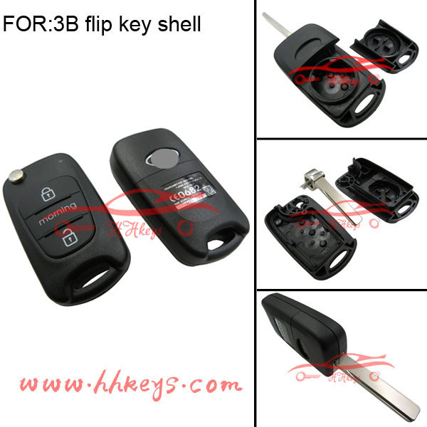 Ka Moring fob shell 3 buttons flip remote key case