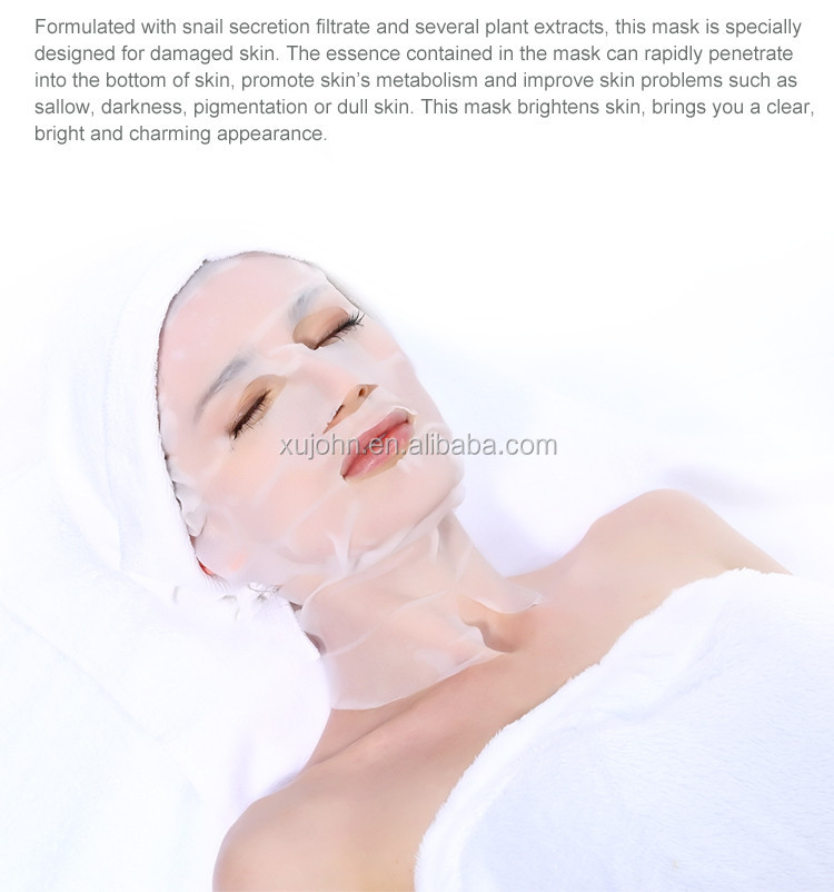 Hot Sell Snail Secration Filtrate Facial Mask 3D Hanging Ears Face And Neck Mask