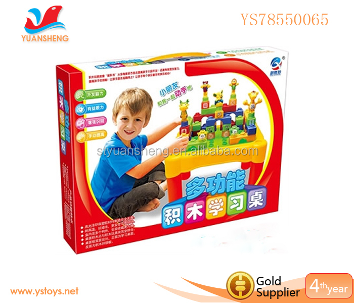 Learning Desk With Plastic Zoo Building Block Toys,Funny Kids Learning Table