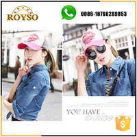 3D Embroidery Fashion Girl Teenager Velcro Back Closure Sport Full Cap Hat