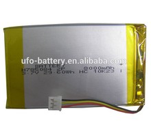 Portable Device, Remote Control Device backup lithium battery 3.7V 8000mAh 785084 2 parallels Li-ion Lithium Polymer Battery