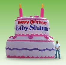 2014 new inflatable advertising giant birthday cake for promotion event
