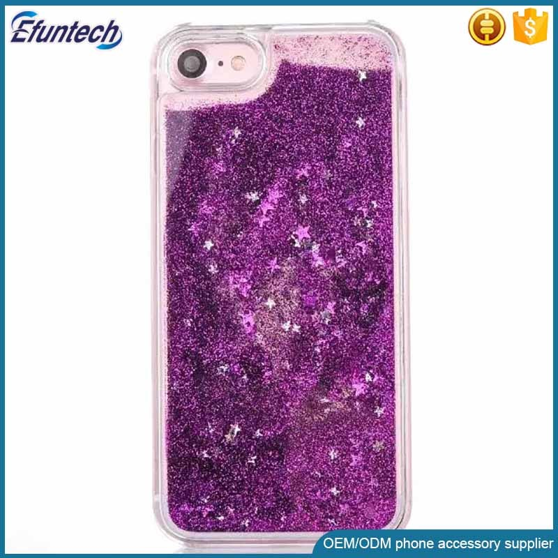 Lady use glitter star liquid quick sand cell phone shell for iphone 7 case