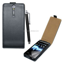 For Sony xperia S LT26i real genuine leather flip case with stylus pen