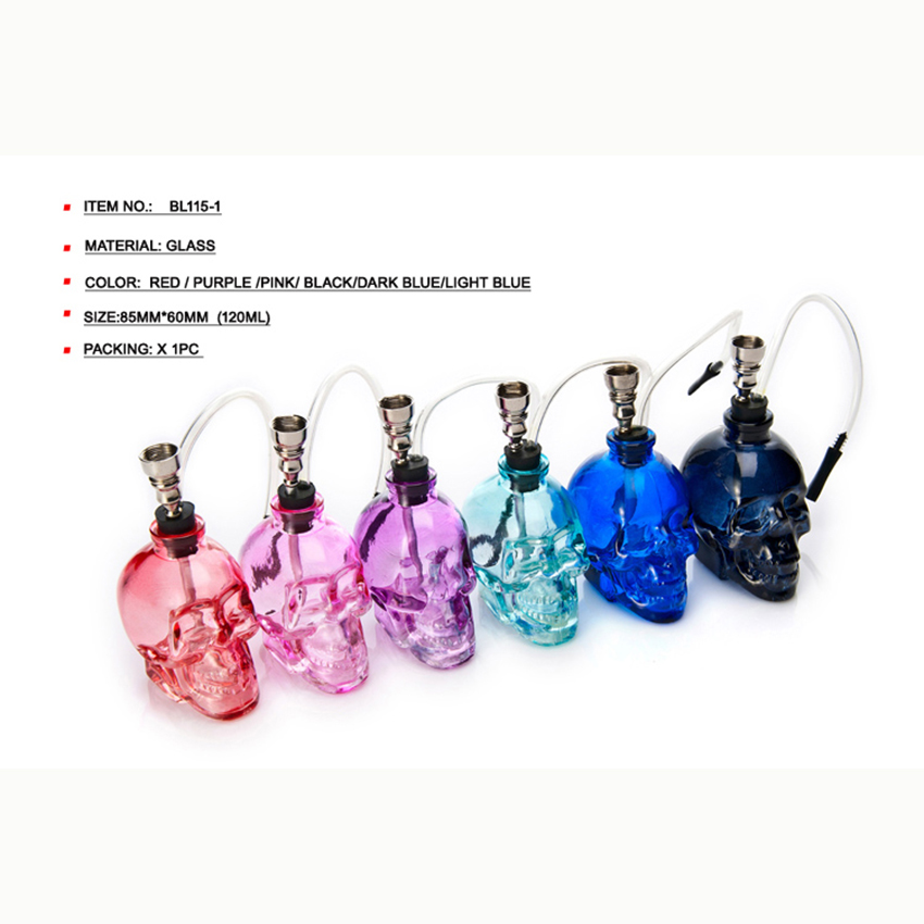 Hot Factory Direct Sales Beautiful Colors Glass Portable Head Mini Water Pipe Tobacco Hookah Weed Shisha Smoke EKJ <strong>H001</strong>