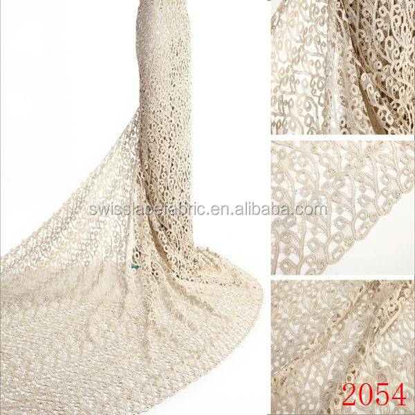 embroidery design bicolor wholesale african guipure chemical lace fabric beige